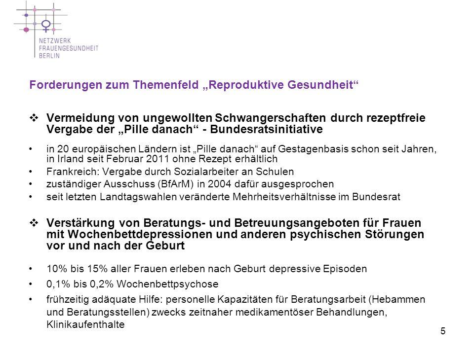 """Forderungen zum Themenfeld """"Reproduktive Gesundheit"""