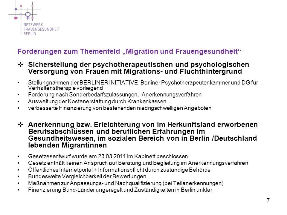 """Forderungen zum Themenfeld """"Migration und Frauengesundheit"""