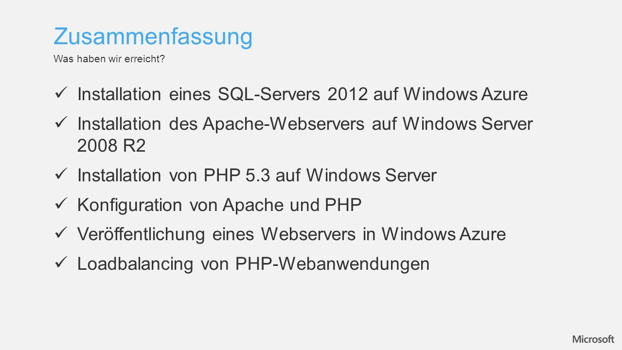 Zusammenfassung Installation eines SQL-Servers 2012 auf Windows Azure