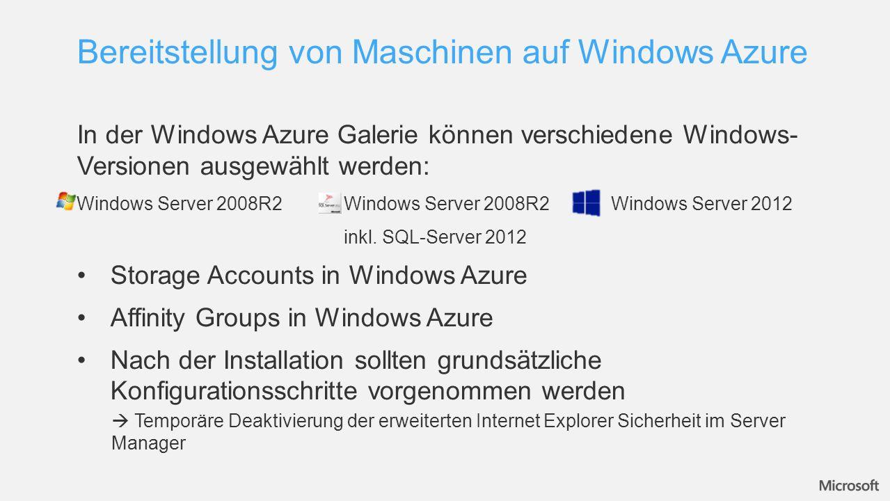 Bereitstellung von Maschinen auf Windows Azure