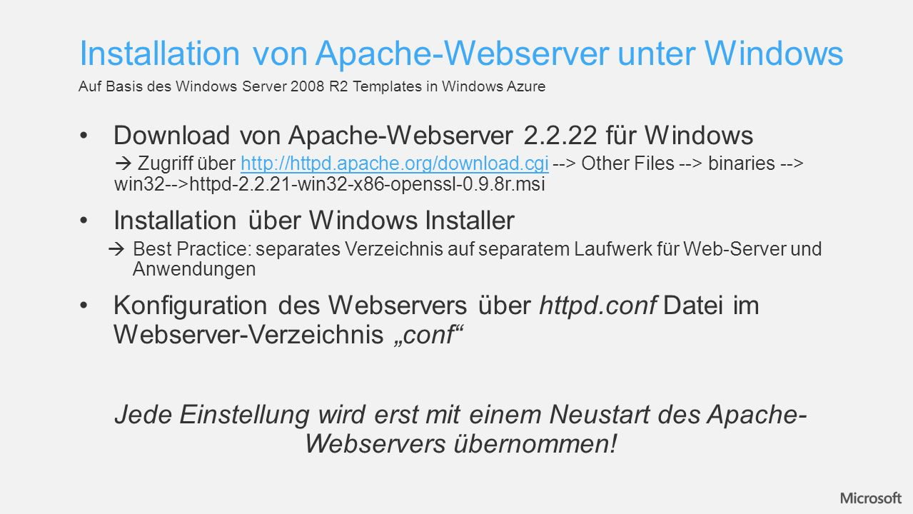 Installation von Apache-Webserver unter Windows