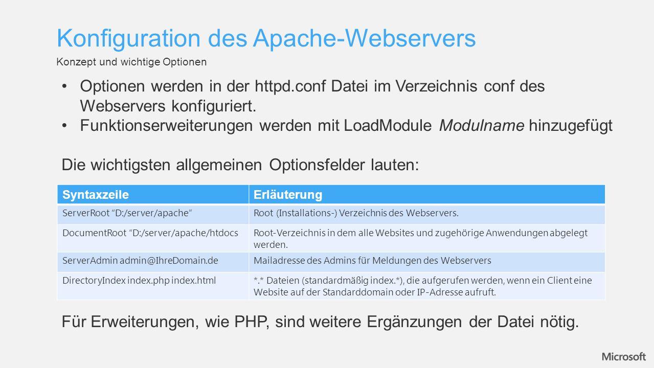 Konfiguration des Apache-Webservers