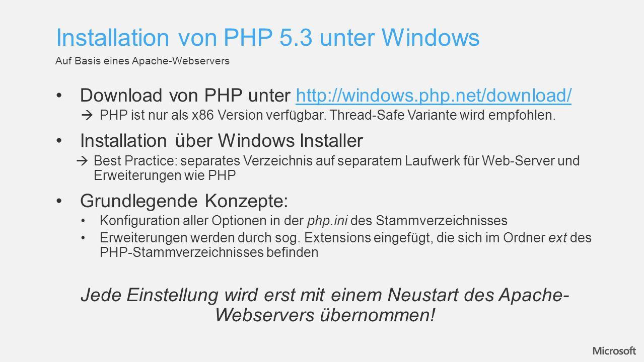 Installation von PHP 5.3 unter Windows