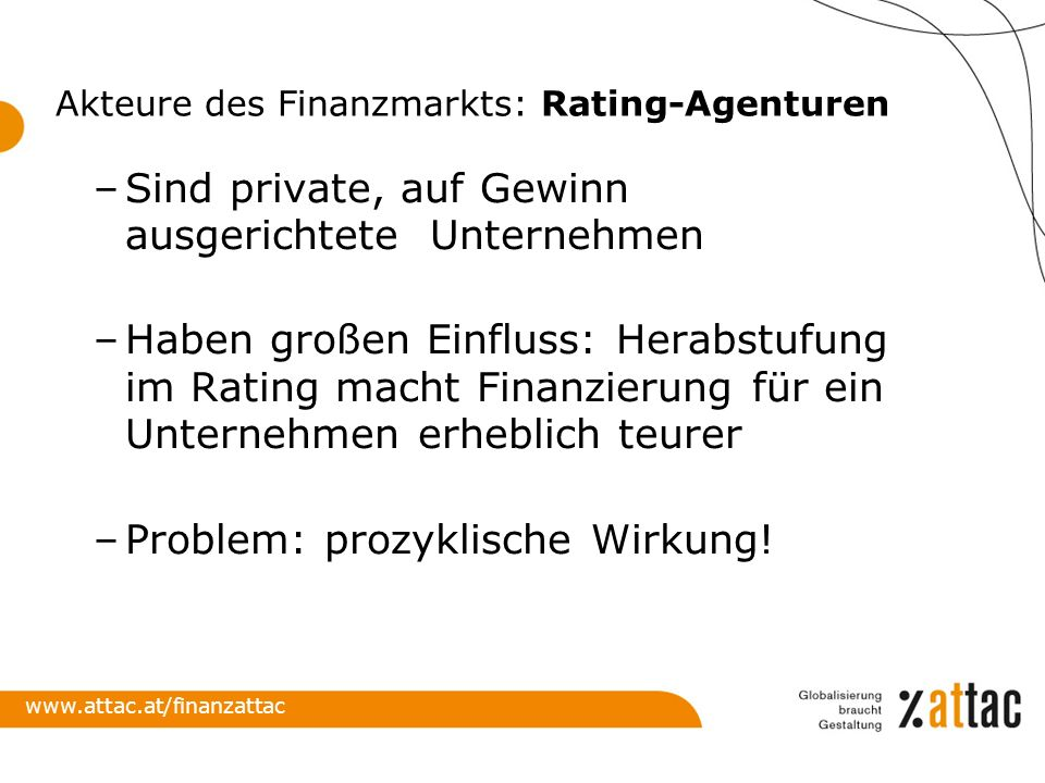 Akteure des Finanzmarkts: Rating-Agenturen
