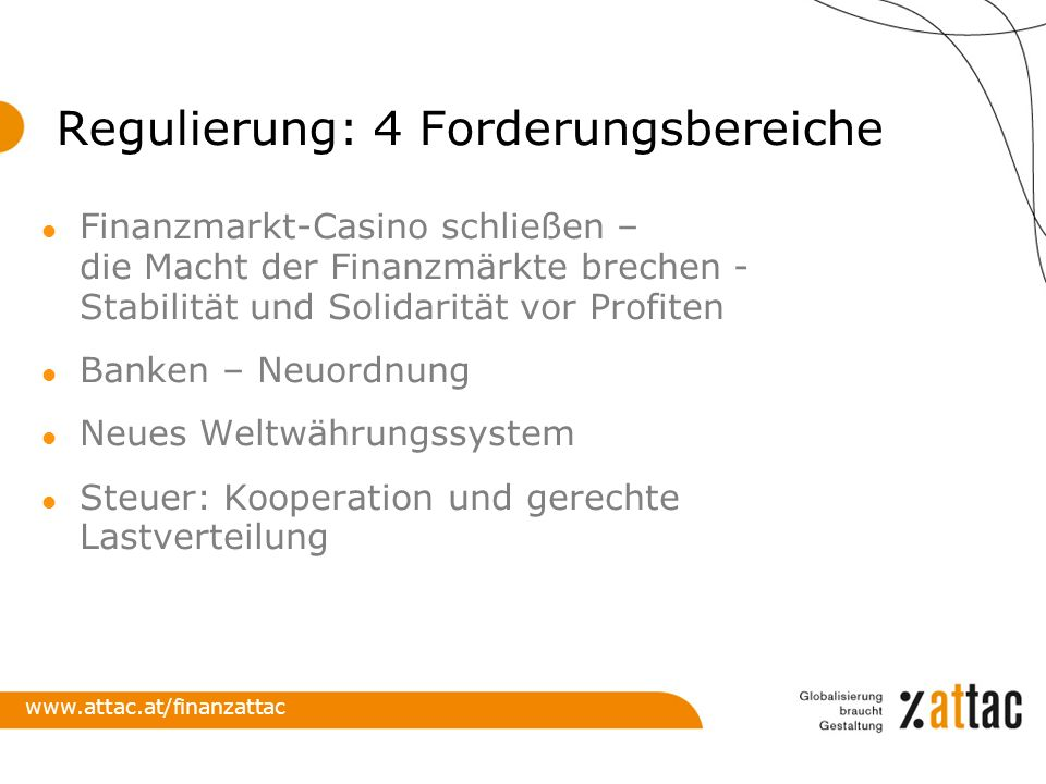 Regulierung: 4 Forderungsbereiche