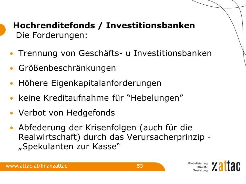 Hochrenditefonds / Investitionsbanken Die Forderungen: