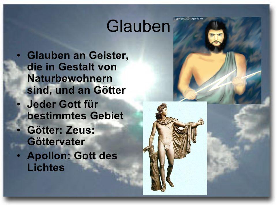 Glauben Glauben an Geister, die in Gestalt von Naturbewohnern sind, und an Götter. Jeder Gott für bestimmtes Gebiet.