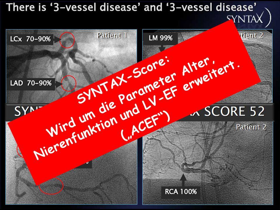 Wird um die Parameter Alter, Nierenfunktion und LV-EF erweitert.