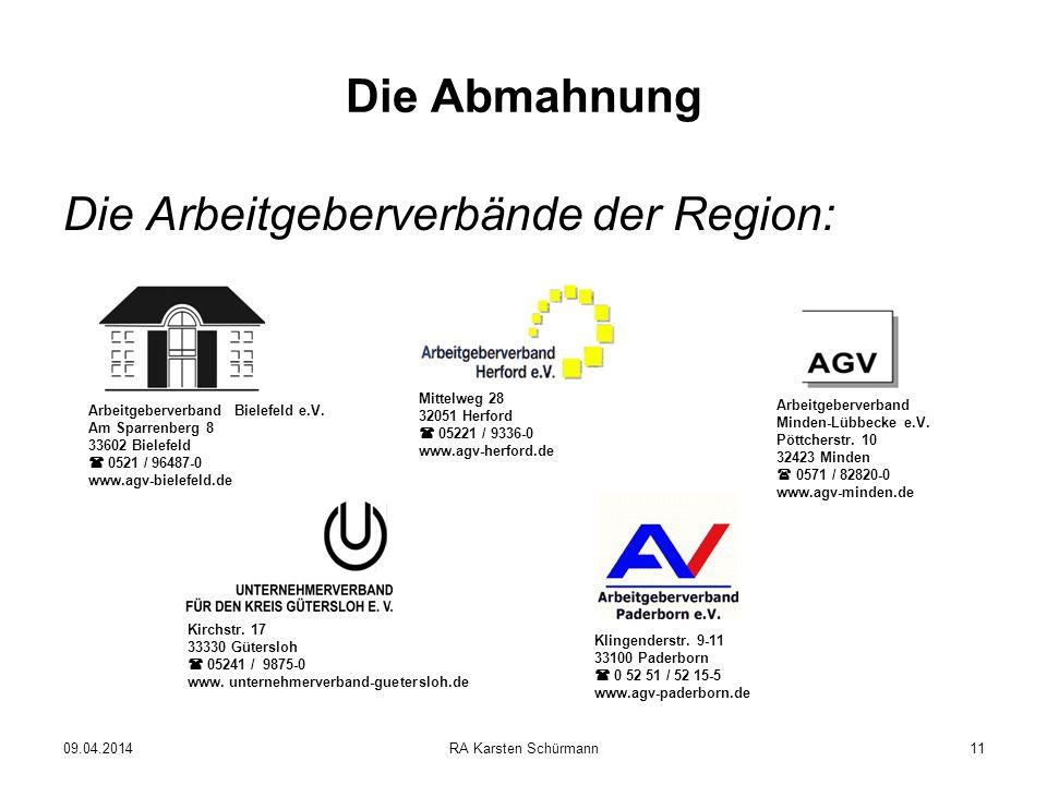 Die Arbeitgeberverbände der Region: