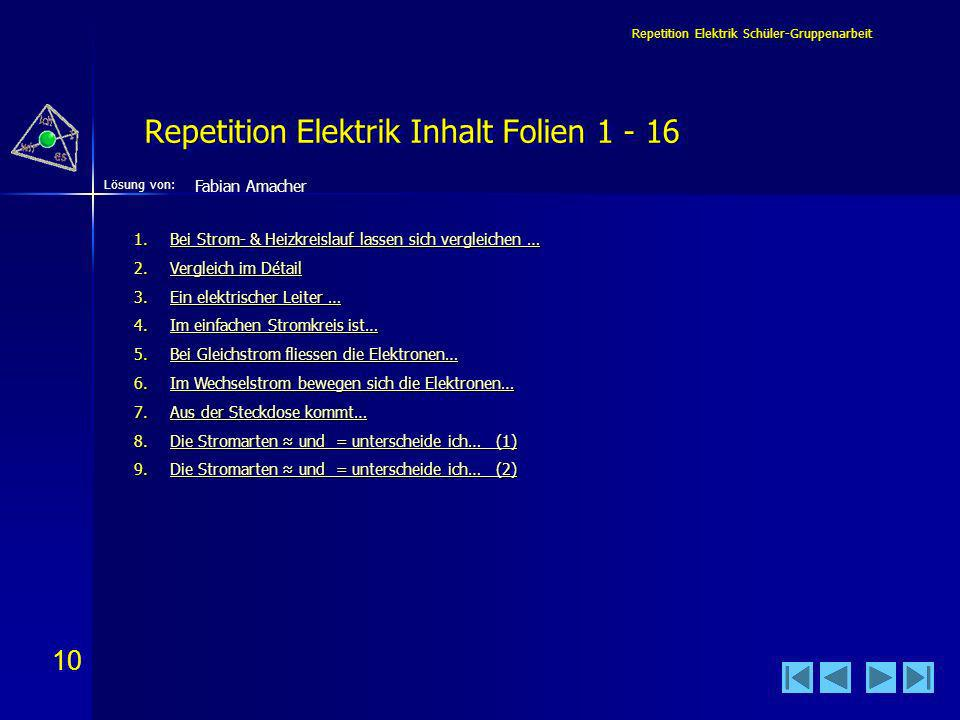 Repetition Elektrik Inhalt Folien 1 - 16