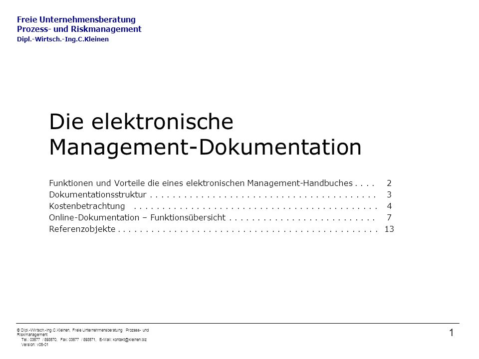 Die elektronische Management-Dokumentation
