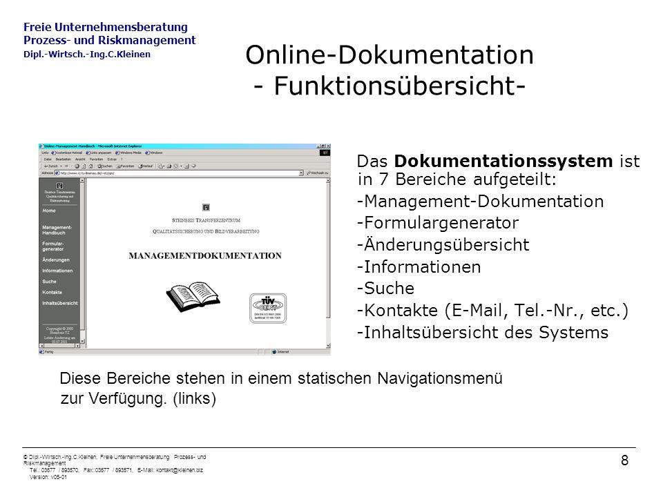 Online-Dokumentation - Funktionsübersicht-
