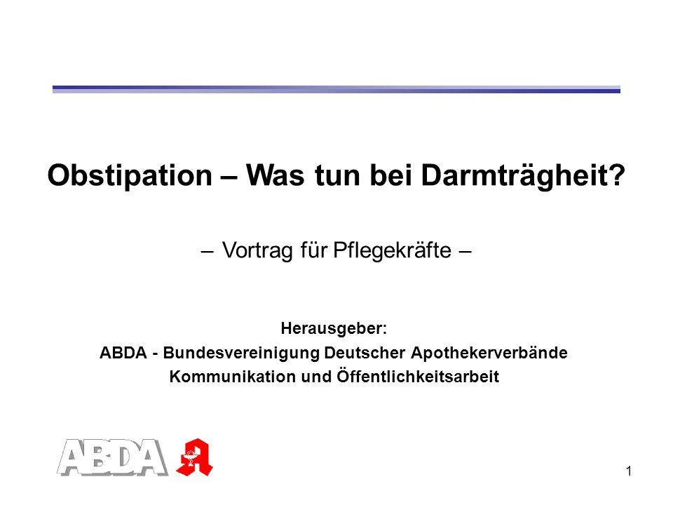 Obstipation – Was tun bei Darmträgheit – Vortrag für Pflegekräfte –