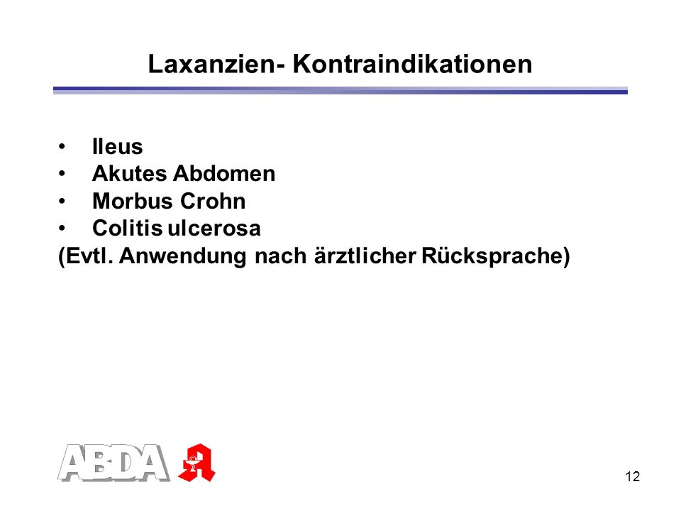 Laxanzien- Kontraindikationen