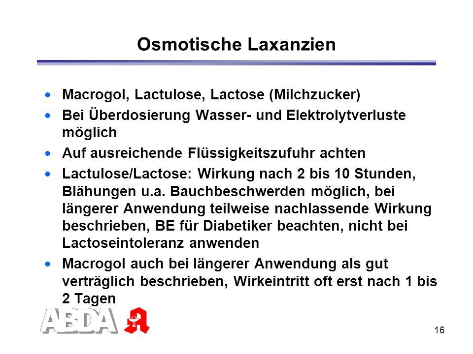 Osmotische Laxanzien Macrogol, Lactulose, Lactose (Milchzucker)