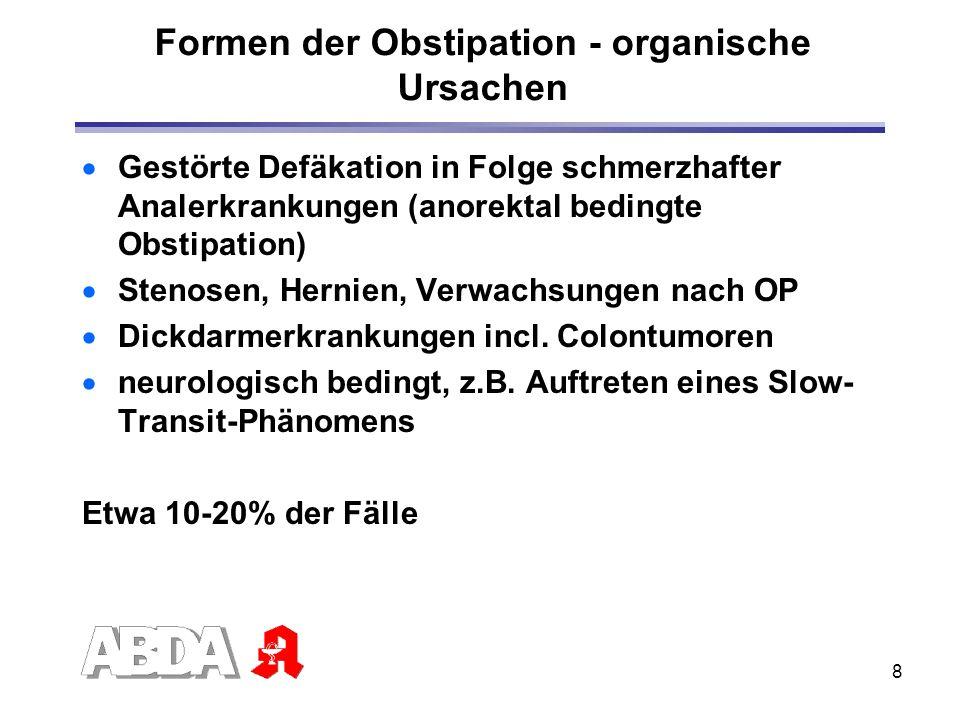 Formen der Obstipation - organische Ursachen