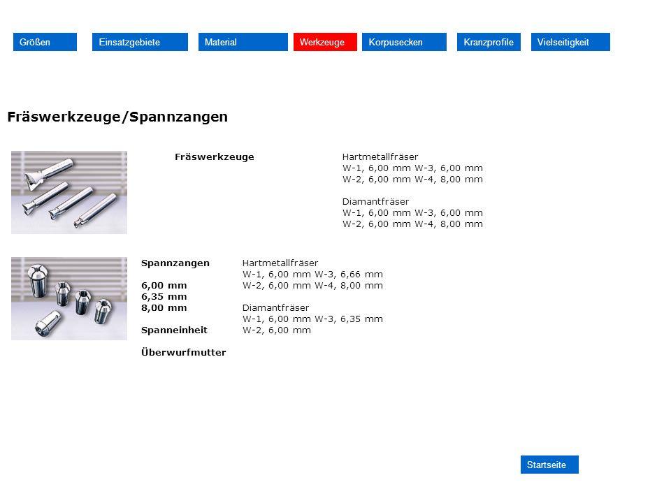 Fräswerkzeuge/Spannzangen Größen Einsatzgebiete Material Werkzeuge