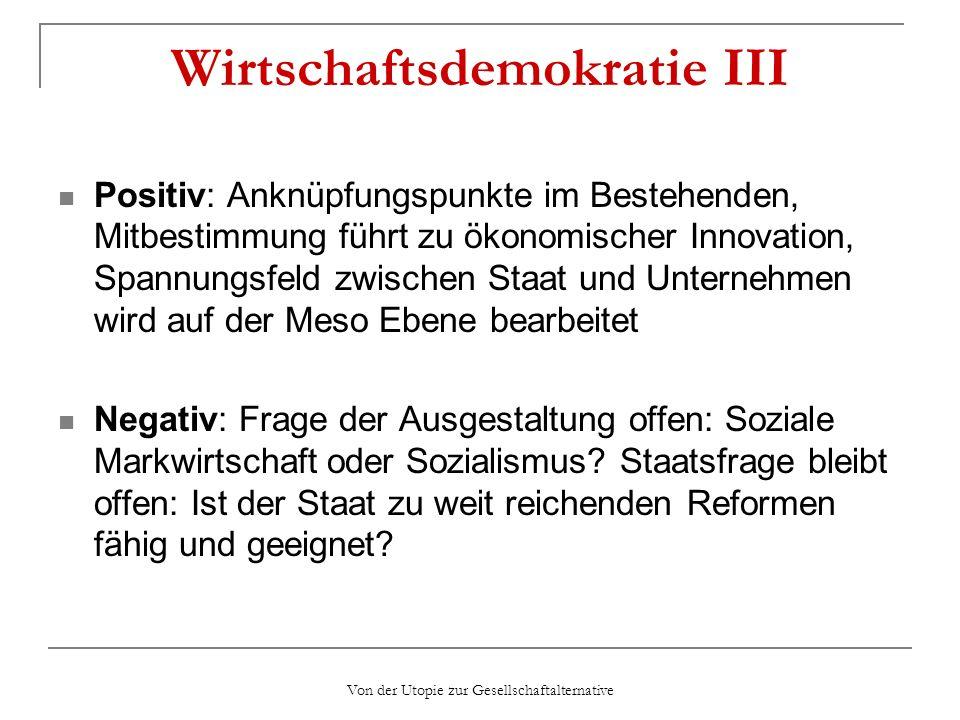 Wirtschaftsdemokratie III