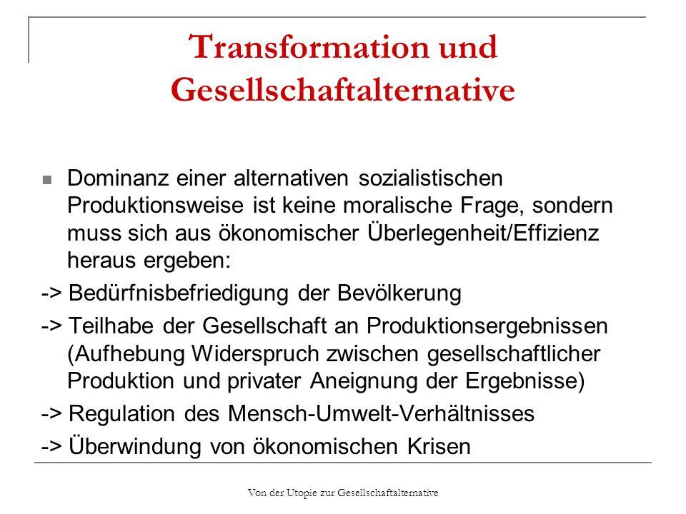 Transformation und Gesellschaftalternative