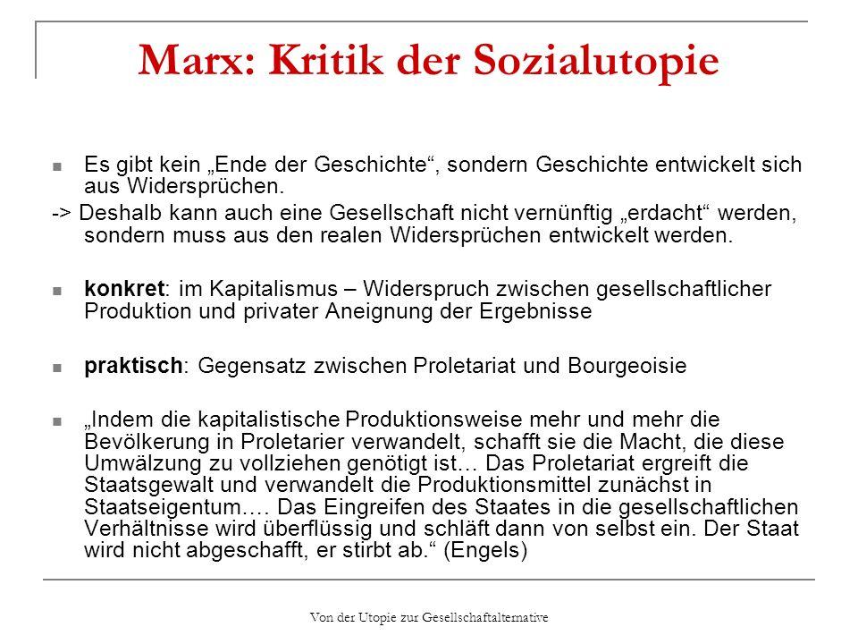 Marx: Kritik der Sozialutopie