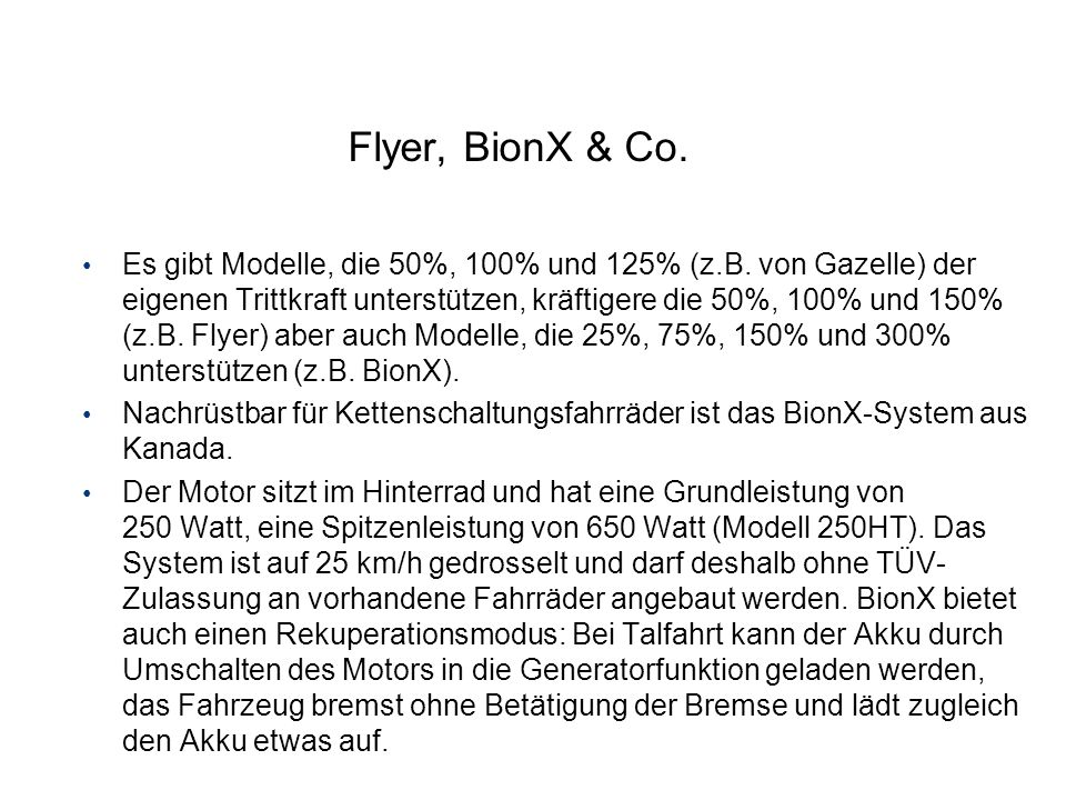 Flyer, BionX & Co.