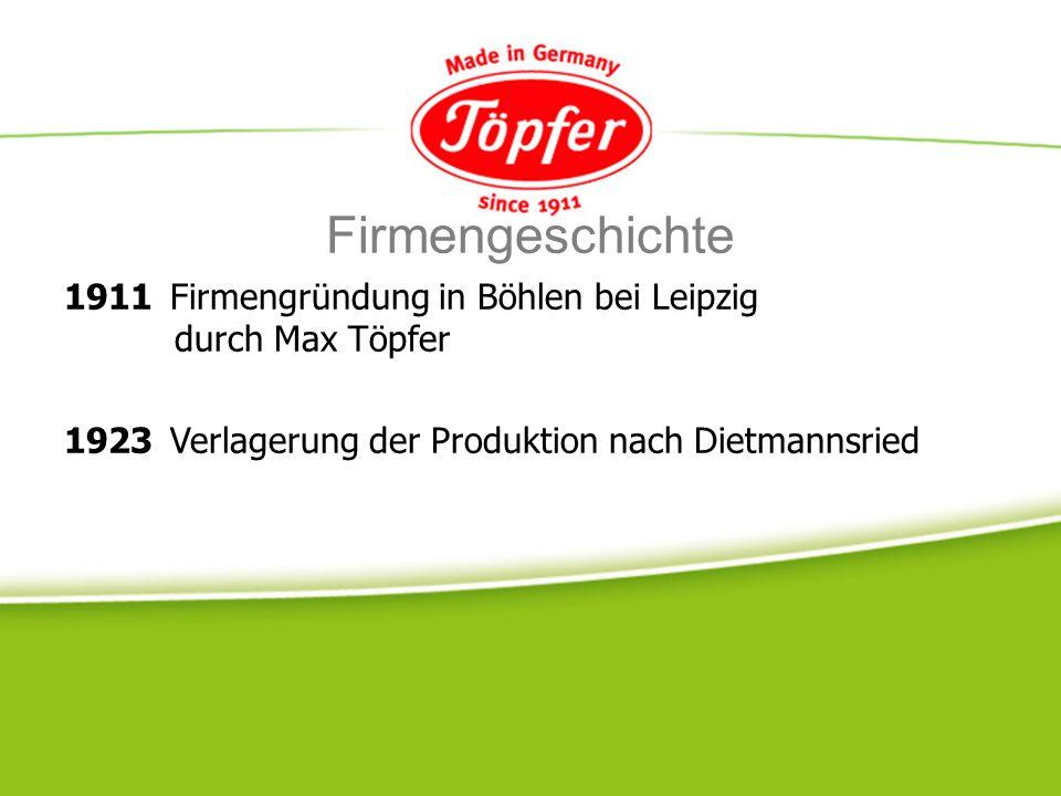 Firmengeschichte 1911 Firmengründung in Böhlen bei Leipzig durch Max Töpfer.