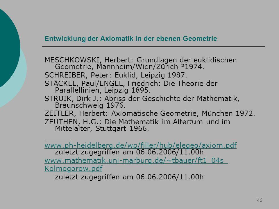 Entwicklung der Axiomatik in der ebenen Geometrie