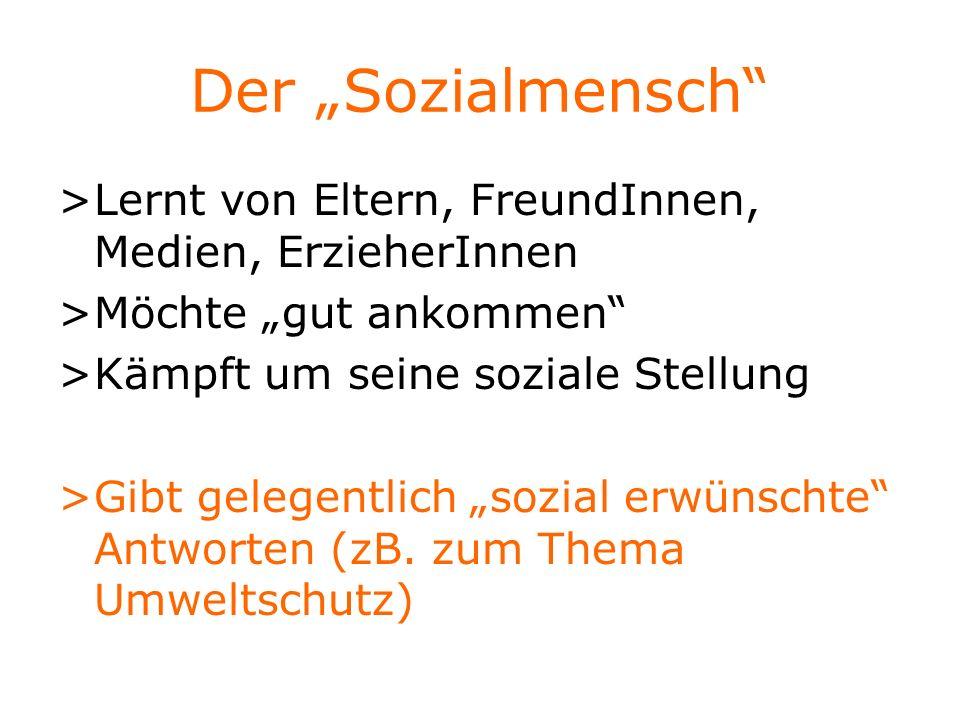 """Der """"Sozialmensch > Lernt von Eltern, FreundInnen, Medien, ErzieherInnen. > Möchte """"gut ankommen"""