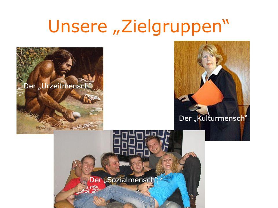 """Unsere """"Zielgruppen Der """"Urzeitmensch Der """"Kulturmensch"""