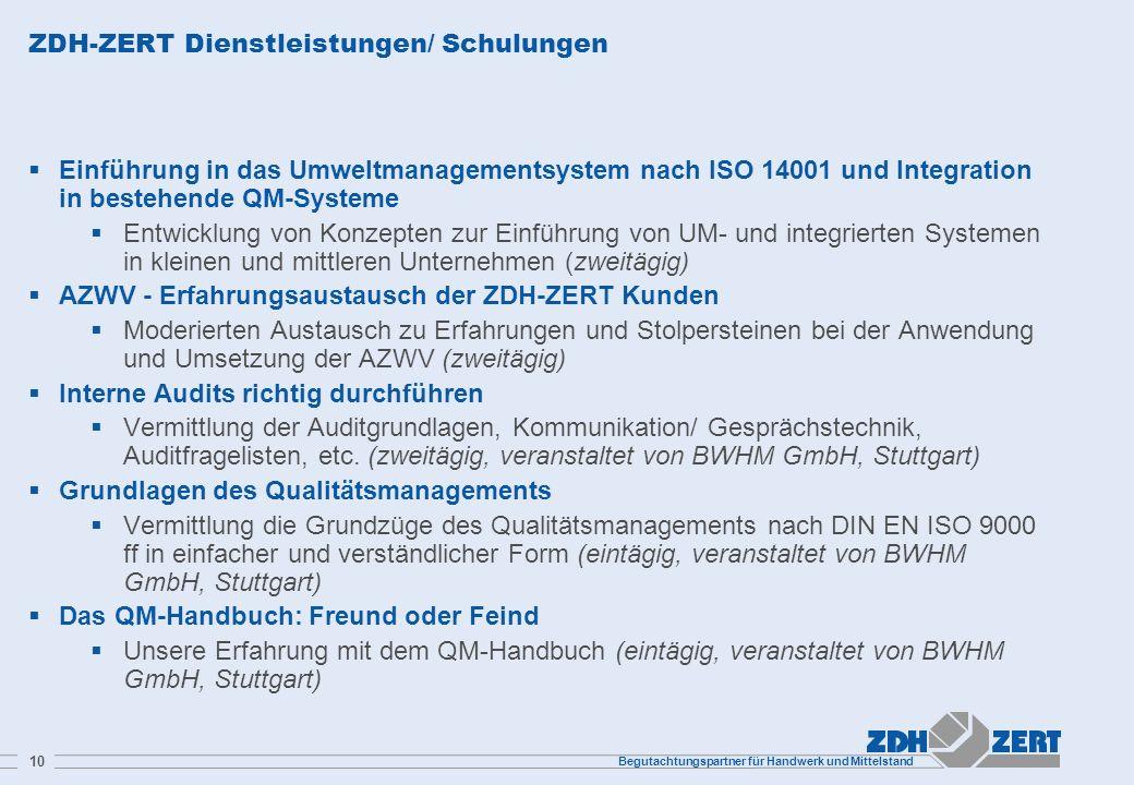 ZDH-ZERT Dienstleistungen/ Schulungen