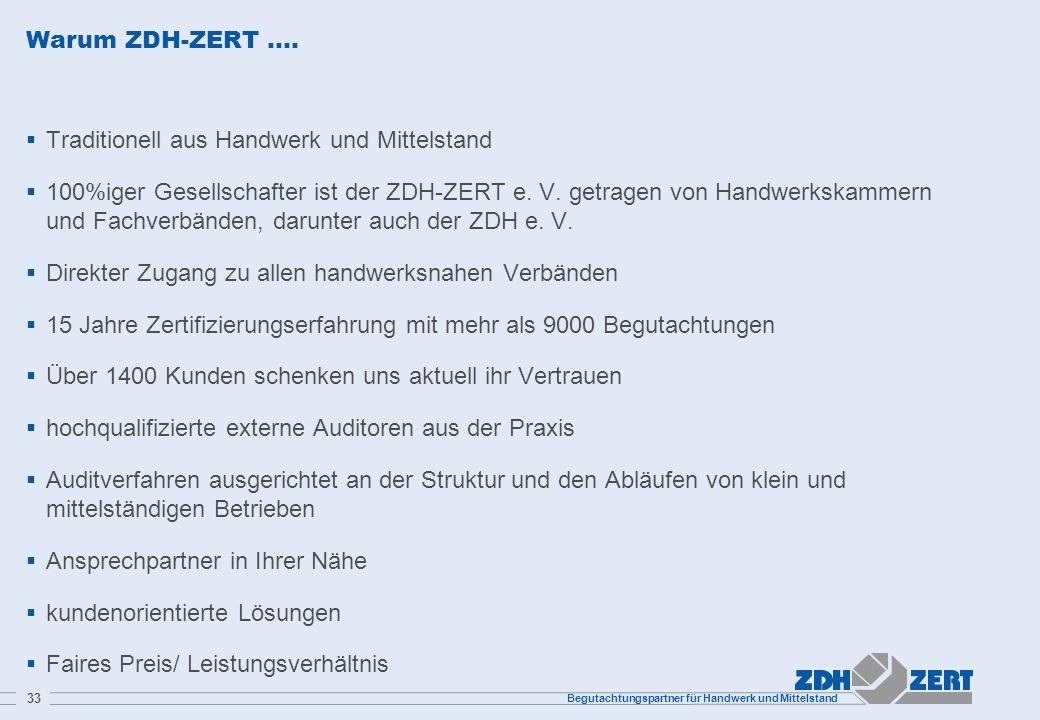 Warum ZDH-ZERT …. Traditionell aus Handwerk und Mittelstand.