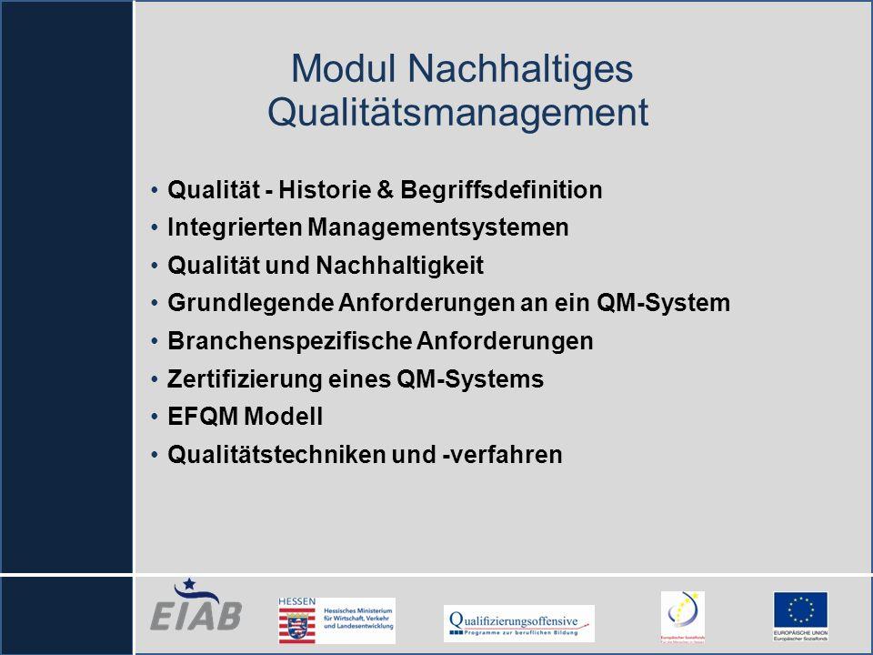 Modul Nachhaltiges Qualitätsmanagement