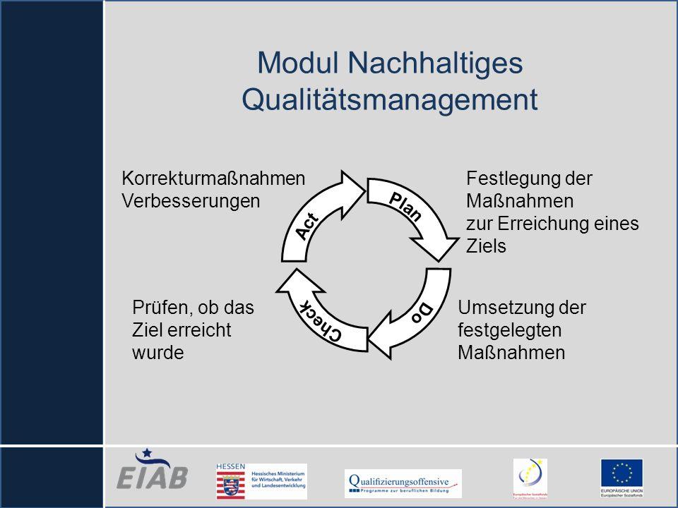 Modul Nachhaltiges Qualitätsmanagement Korrekturmaßnahmen