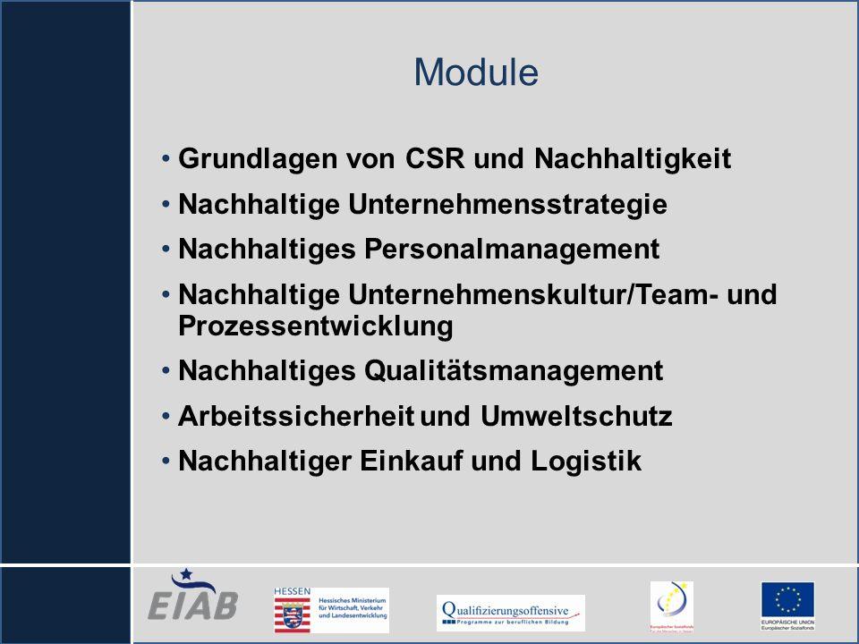 Module Grundlagen von CSR und Nachhaltigkeit