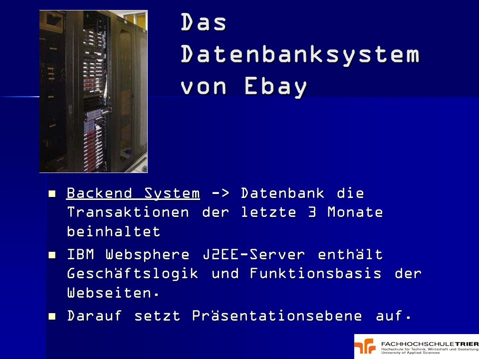 Das Datenbanksystem von Ebay