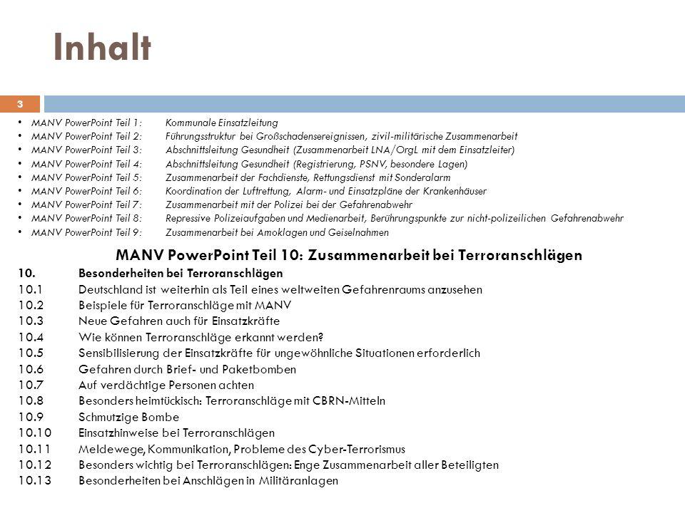 MANV PowerPoint Teil 10: Zusammenarbeit bei Terroranschlägen