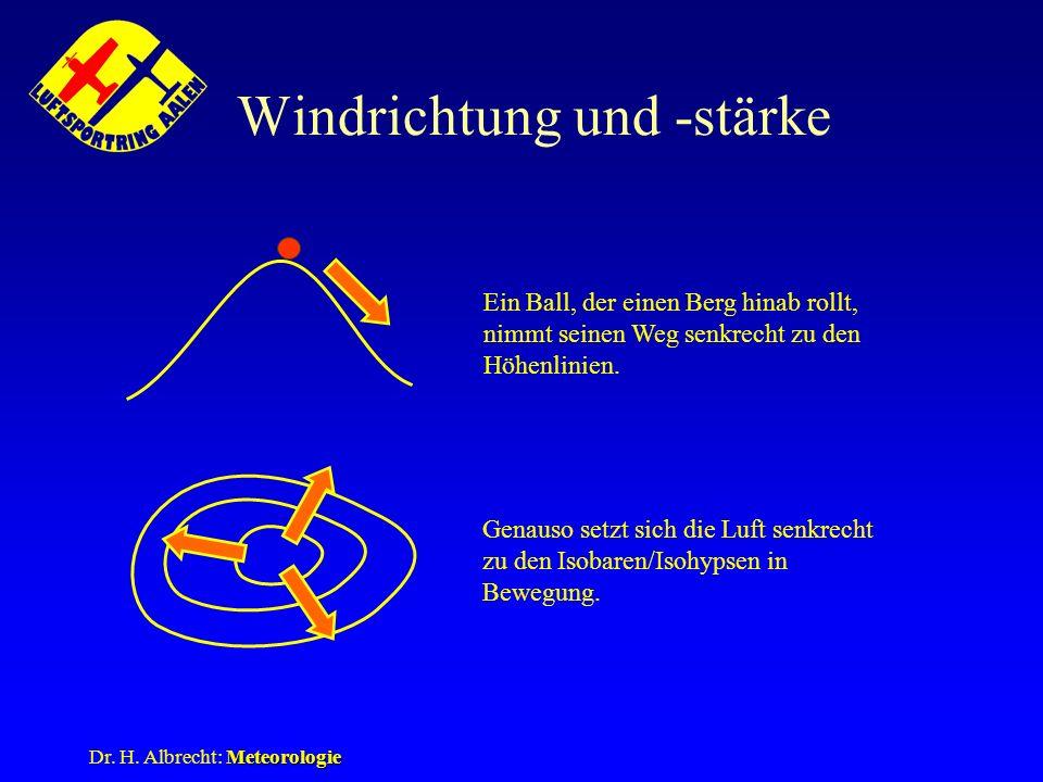Windrichtung und -stärke