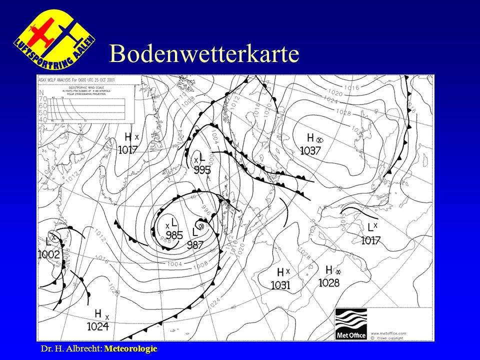 Bodenwetterkarte Dr. H. Albrecht: Meteorologie