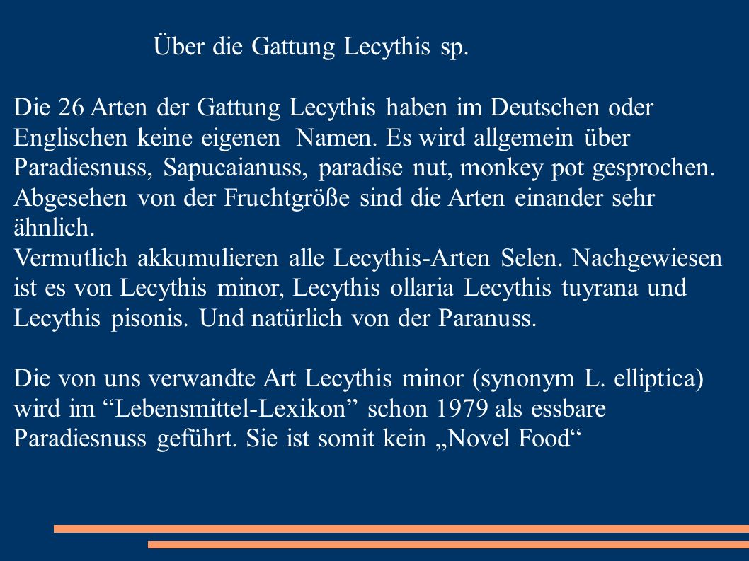 Über die Gattung Lecythis sp.