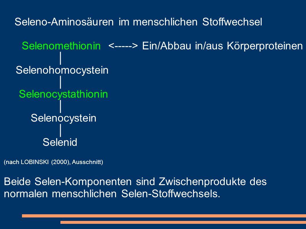 Selenomethionin <-----> Ein/Abbau in/aus Körperproteinen │