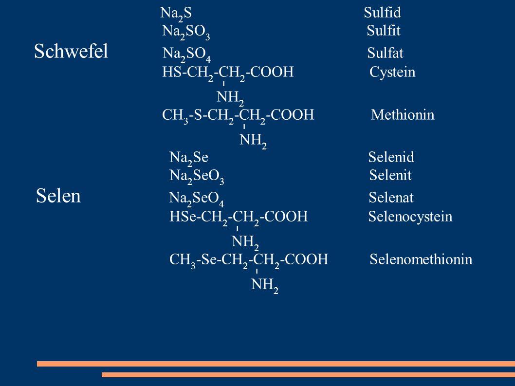 Schwefel Na2SO4 Sulfat Selen Na2SeO4 Selenat Na2S Sulfid Na2SO3 Sulfit