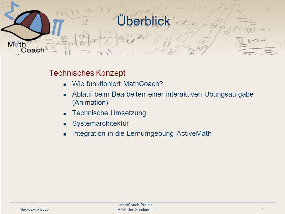 Überblick Technisches Konzept Wie funktioniert MathCoach