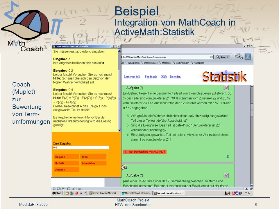 Beispiel Integration von MathCoach in ActiveMath:Statistik