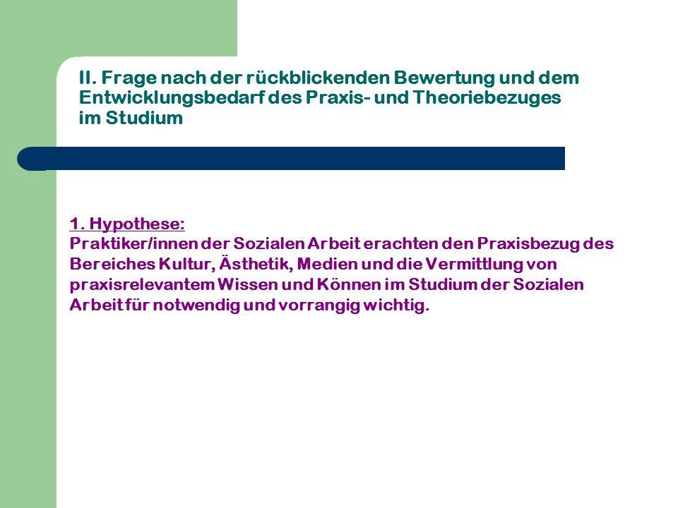II. Frage nach der rückblickenden Bewertung und dem Entwicklungsbedarf des Praxis- und Theoriebezuges im Studium