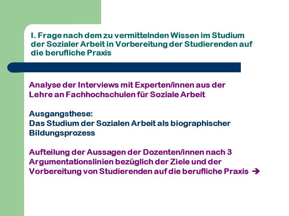 I. Frage nach dem zu vermittelnden Wissen im Studium der Sozialer Arbeit in Vorbereitung der Studierenden auf die berufliche Praxis