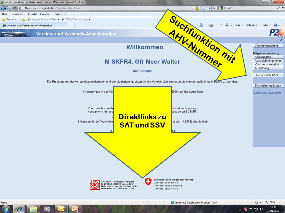 Direktlinks zu SAT und SSV