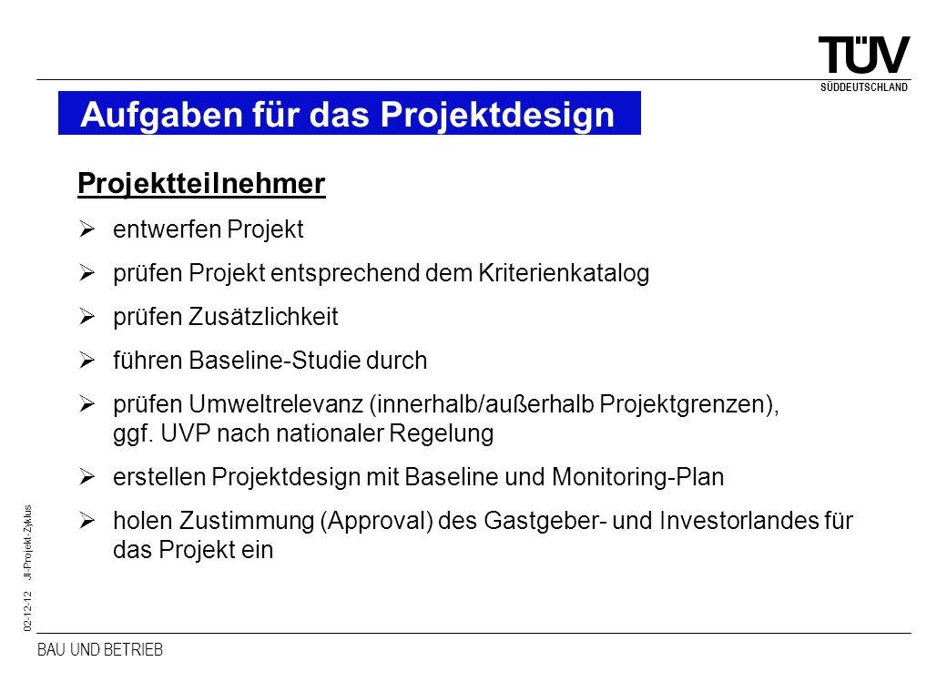 Aufgaben für das Projektdesign