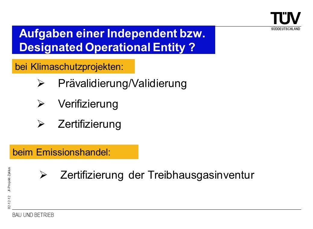 Aufgaben einer Independent bzw. Designated Operational Entity