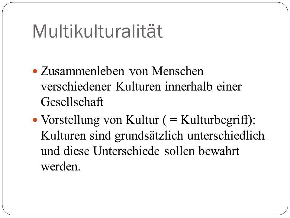 Multikulturalität Zusammenleben von Menschen verschiedener Kulturen innerhalb einer Gesellschaft.