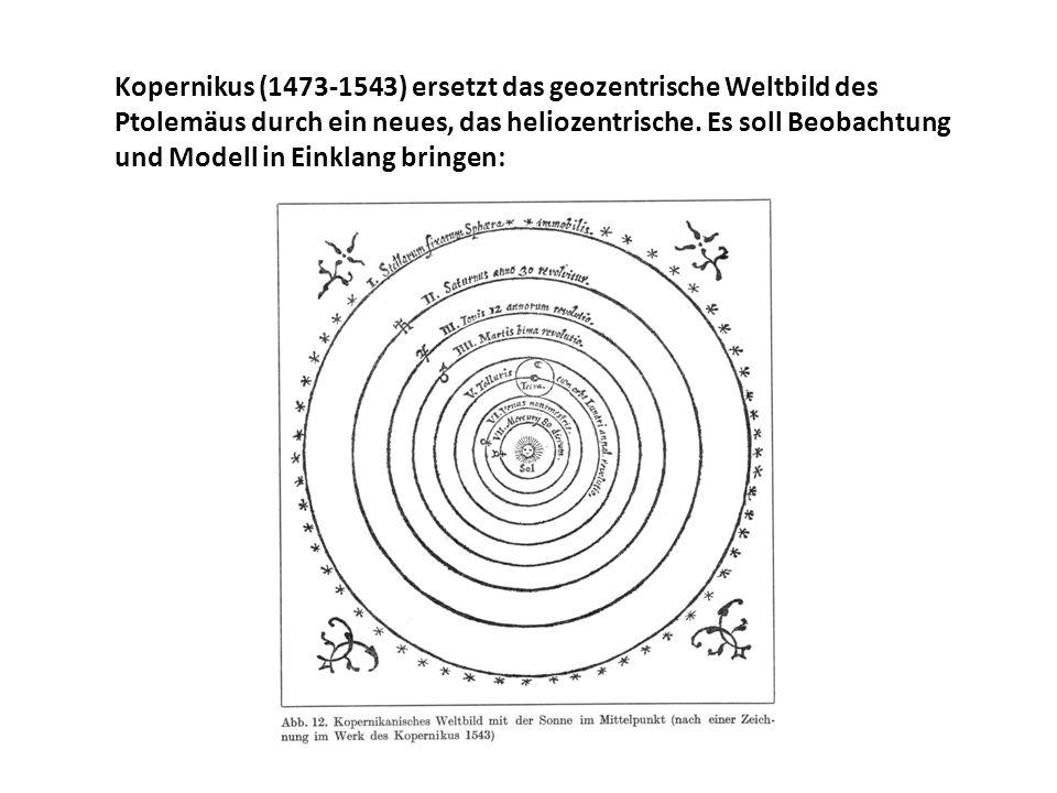 Kopernikus (1473-1543) ersetzt das geozentrische Weltbild des Ptolemäus durch ein neues, das heliozentrische.